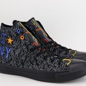 Converse shoes in black and gray with multi colors